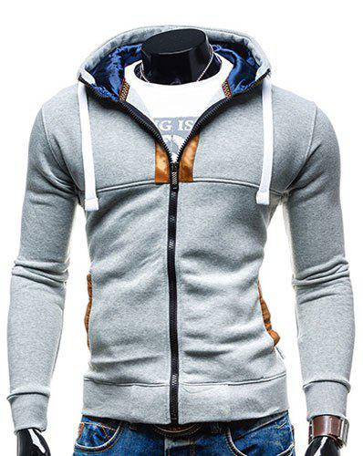 Hooded Drawstring Long Sleeve Selvedge Embellished Mens HoodieMEN<br><br>Size: M; Color: LIGHT GRAY; Material: Cotton,Polyester; Shirt Length: Regular; Sleeve Length: Full; Style: Fashion; Weight: 0.380kg; Package Contents: 1 x Hoodie;