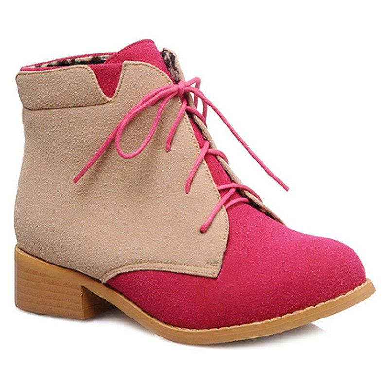 Online Suede Color Block Lace-Up Boots