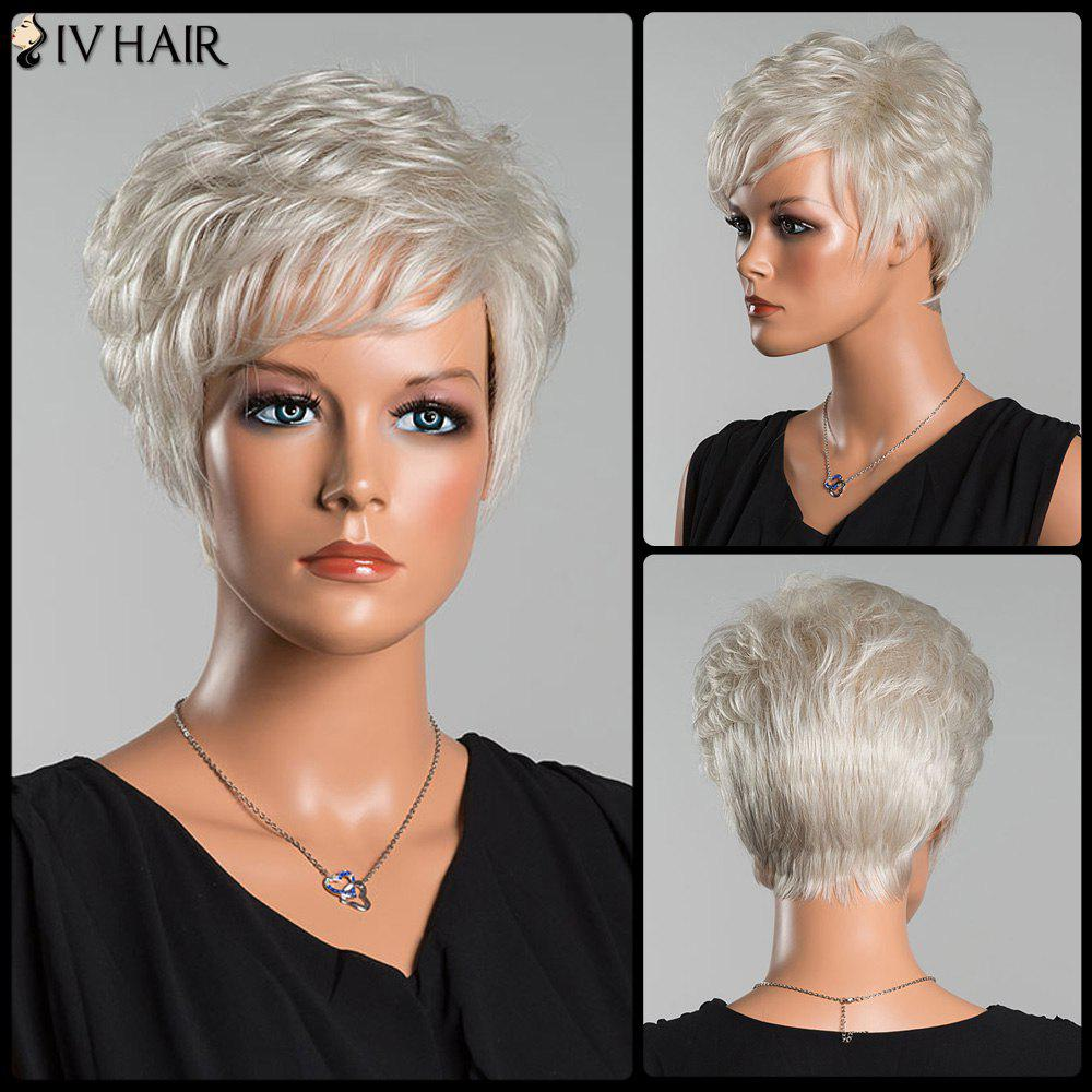 Siv Short Layered Curly Oblique Bang Human Hair WigHAIR<br><br>Color: SILVER WHITE; Type: Full Wigs; Cap Construction: Capless; Style: Curly; Cap Size: Average; Material: Human Hair; Bang Type: Side; Length: Short; Occasion: Daily; Density: 130%; Length Size(CM): 22; Weight: 0.130kg; Package Contents: 1 x Wig;