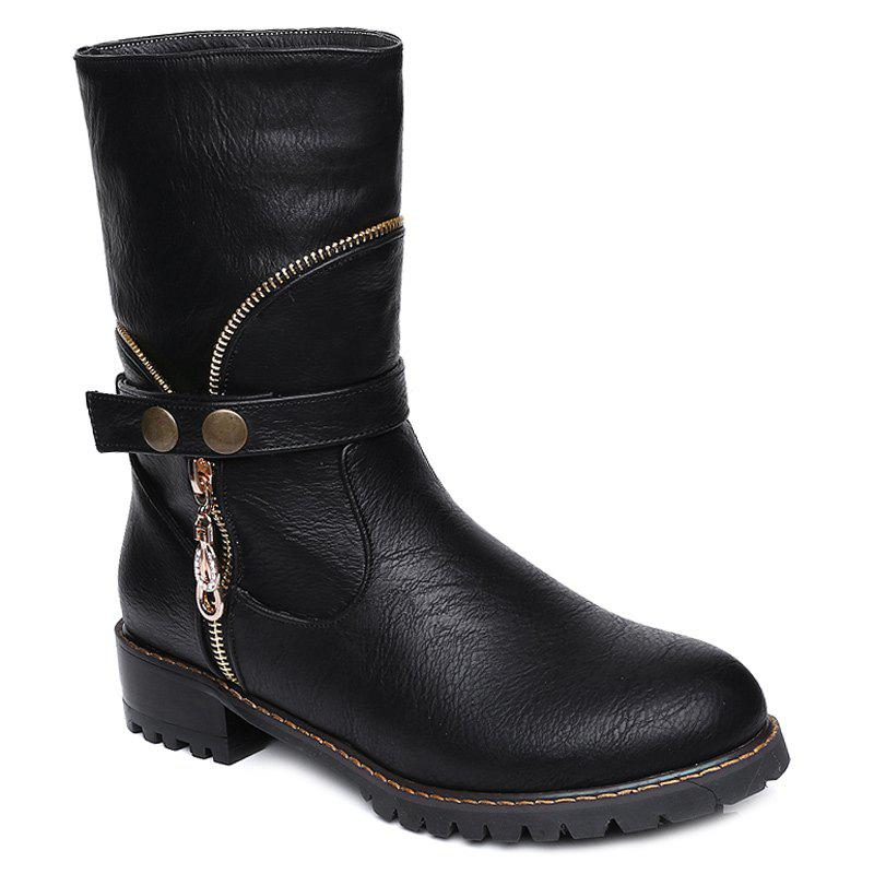 Latest Zip Embellished Mid-Calf Boots