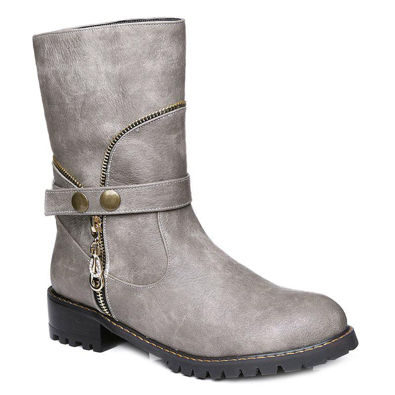 Discount Zip Embellished Mid-Calf Boots