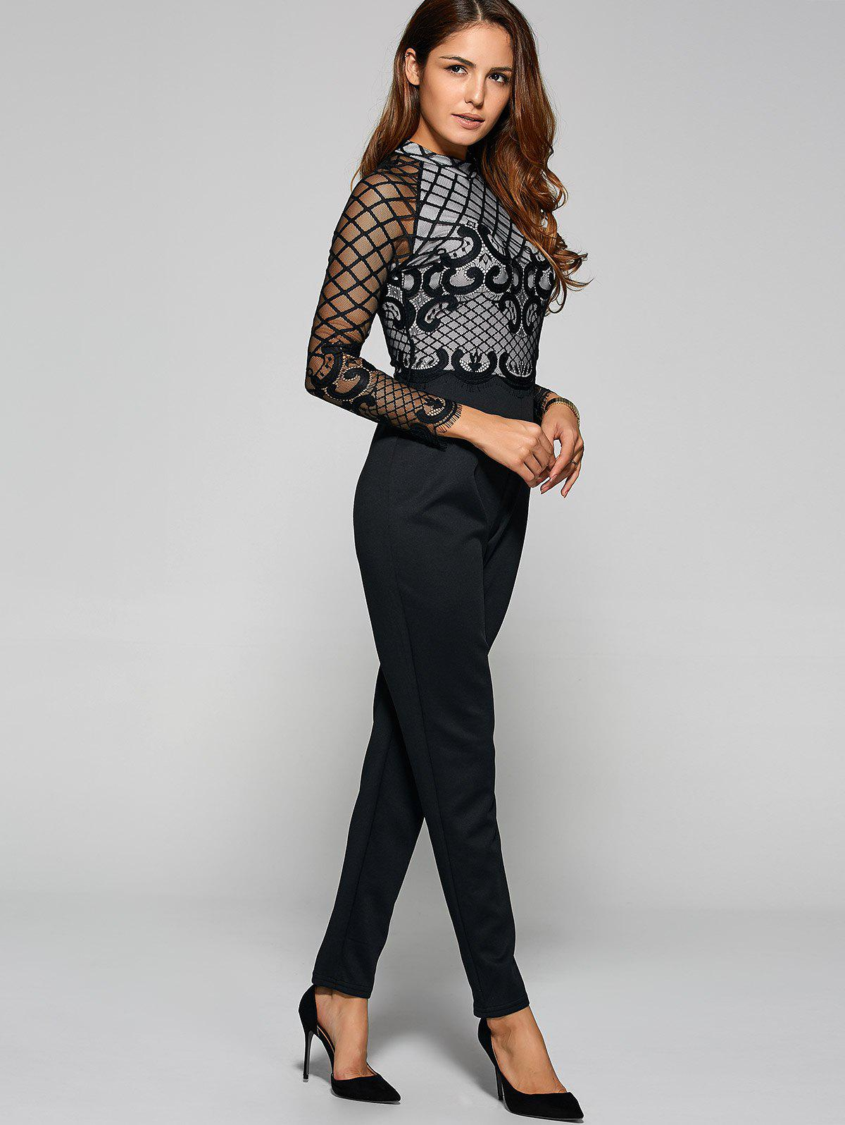 Outfits Long Sleeve Sheer Mesh Trim Jumpsuit