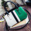 Colour Spliced PU Leather Metal Tote Bag - GREEN