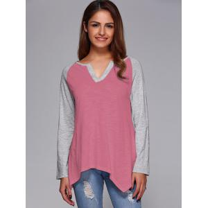 Raglan Sleeve Asymmetrical T-Shirt - Pink - Xl