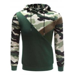 Hooded Camouflage Splicing Long Sleeve Hoodie - Acu Camouflage - Xl