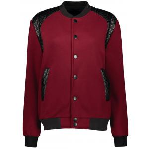 Stand Collar PU-Leather Splicing Jacket