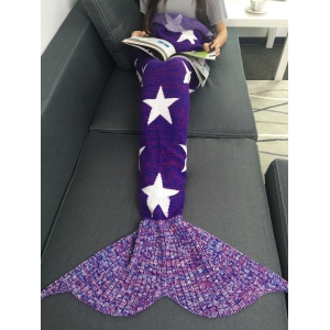 Stars Pattern Knitted Mermaid Tail Blanket - Purple - 180*90cm