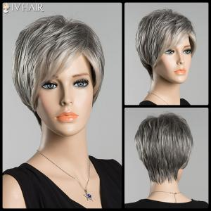 Short Fluffy Inclined Bang Straight Ombre Siv Human Hair Wig