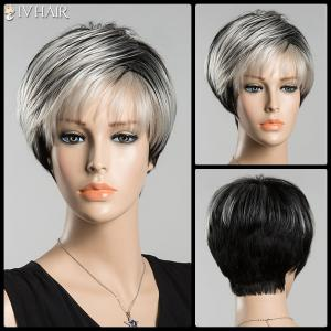 Short Spiffy Inclined Bang Straight Ombre Siv Human Hair Wig