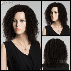 Medium Afro Curly Siv Human Hair Wig - Jet Black - 18cm