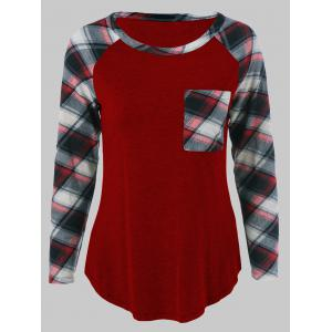 Plus Size One Pocket Plaid Long Sleeve T-Shirt - Deep Red - 3xl