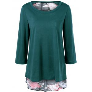 Plus Size Floral High Low Blouse - Jade Green - Xl