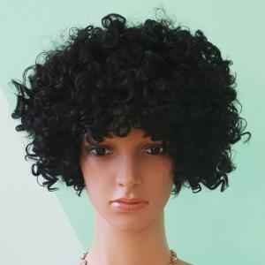 Short Full Bang Afro Curly Black Prevailing Synthetic Hair Wig