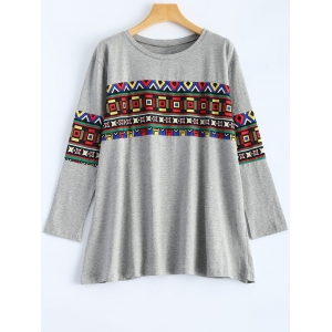 Geometric Loose Plus Size T-Shirt