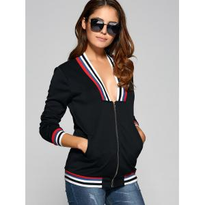 Stripe Plunge trim Neck Jacket