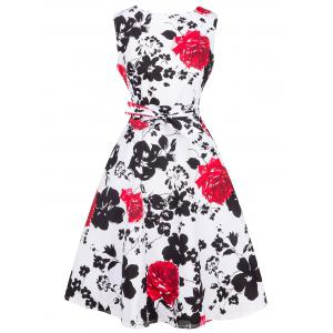 Retro Ornate Floral Print Tie-Waist Dress