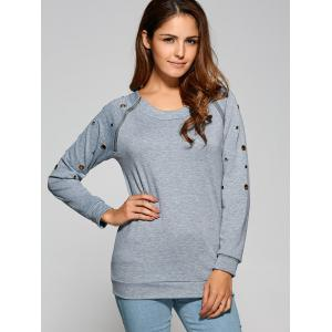 Zipper Openwork Detailed Sweatshirt