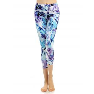 High Stretchy Printed Cropped Leggings - Bluish Violet - L