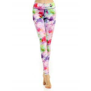Breathable Stretchy Multicolor Printed Leggings - Colorful - L