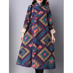 Frog Buttons Printed Long Maxi Coat - Purplish Blue - M