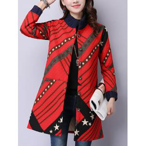 Button Up Printed Quilted Coat - Red - Xl