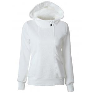 Casual Long Sleeve Lace Spliced Pullover Hoodie - White - S