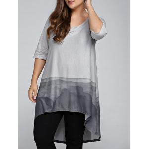 Plus Size 3/4 Sleeve Printed High Low T-Shirt - Gray - 2xl