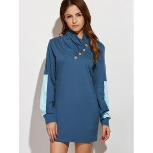 Casual Long Sleeve Color Block Mini Shift Dress - Blue - S