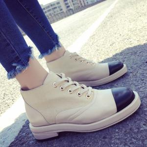 Colour Block Splicing Lace-Up Ankle Boots - Light Khaki - 37