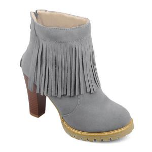 Back Zip Chunky Heel Fringe Ankle Boots - Gray - 39