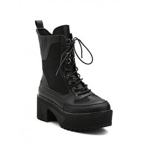 Spliced Lace-Up Platform Combat Boots