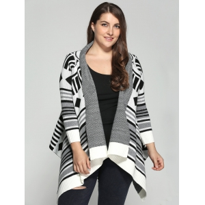 Plus Size Geometric Pattern Irregular Cardigan - Colormix - 3xl