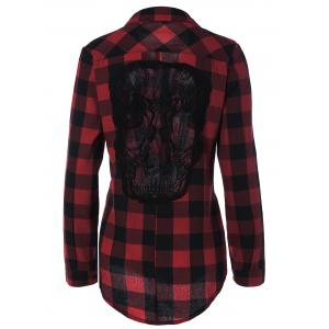 Plaid Back Skull Pattern Flannel Shirt