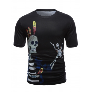 Skull 3D Printed Short Sleeve Round Neck T-Shirt