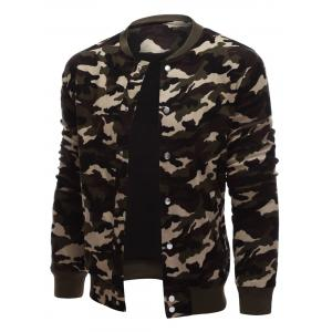 Rib Cuff Snap Button Up Camo Jacket