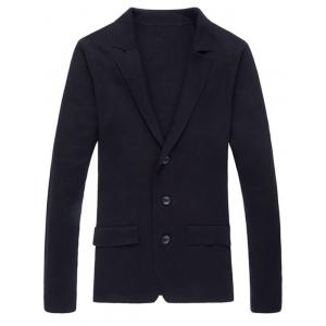 Notch Lapel Faux Flap Pocket Texture Cardigan