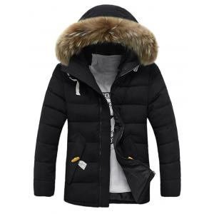 Button Pocket Zip Up Faux Fur Hooded Quilted Coat - Black - Xl