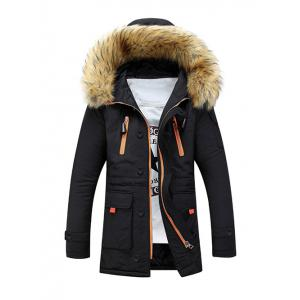 Faux Fur Hooded Zip Up Multi-Pocket Padded Coat - Black - Xl