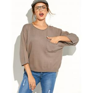 Pocket Knitted Pullover Sweater - Khaki - One Size