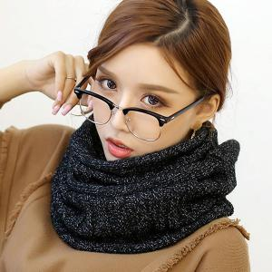 Knitted Pure Color Turtleneck Twist Infinity Scarf - Black - M