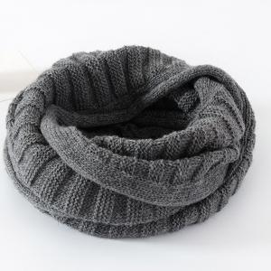 Knitted Pure Color Turtleneck Twist Infinity Scarf - Gray