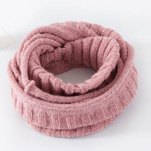Knitted Pure Color Turtleneck Twist Infinity Scarf - Shallow Pink