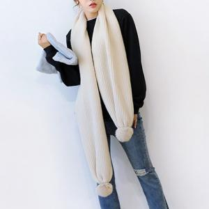 Winter Faux Fur Ball Knitted Long Scarf - Off-white