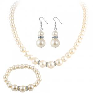 Faux Pearl Beaded Necklace Bracelet and Earrings - White