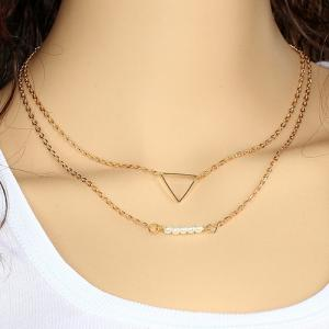 Faux Pearl Triangle Pendant Layered Necklace - Golden
