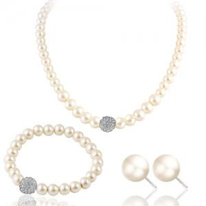 Faux Pearl Rhinestone Beaded Necklace Bracelet and Earrings