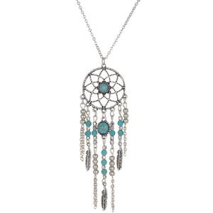 Faux Turquoise Feather Beads Sweater Chain