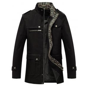 Epaulet Embellished Stand Collar Multi Pockets Jacket