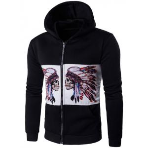 Hooded Zip Up Symmetrical Chief Skull Print Hoodie