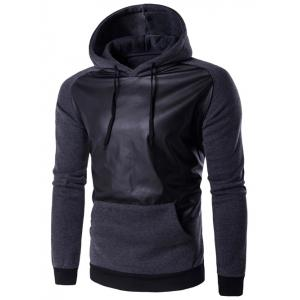 Hooded PU-Leather Splicing Raglan Sleeve Hoodie